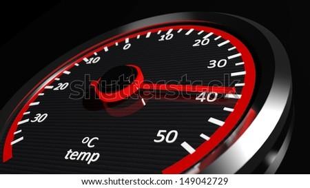 Temperature meter shows high temperatures - stock photo