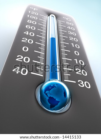 Temperature of the Planet Earth. Concept of greenhouse effect. - stock photo