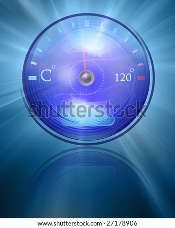 Temperature reading on dashboard on a blue background - stock photo
