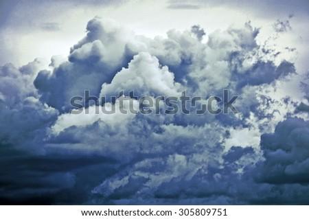 tempest cloud - illustration based on own photo image - stock photo