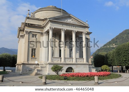 Tempio Voltiano is the most visited museum in Como, Italy - stock photo