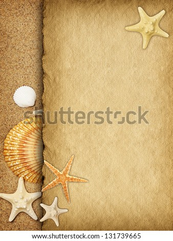 Template background - blank handmade paper sheet on sand
