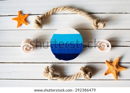 Template background of summer marine items on a wooden planks. - stock photo