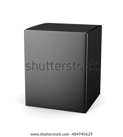 Template black cardboard package box for cosmetic products isolated on white background.  Mock up for your design. 3d rendering.
