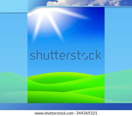 Template blue background for web design or presentation - stock photo