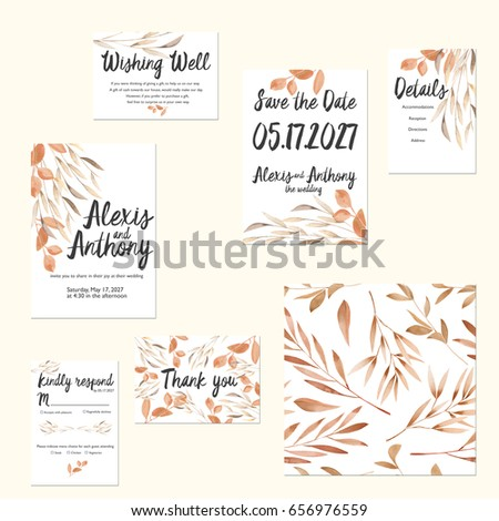 Template Cards Set With Watercolor Autumn Tree Branches Wedding Design For Invitation Save The