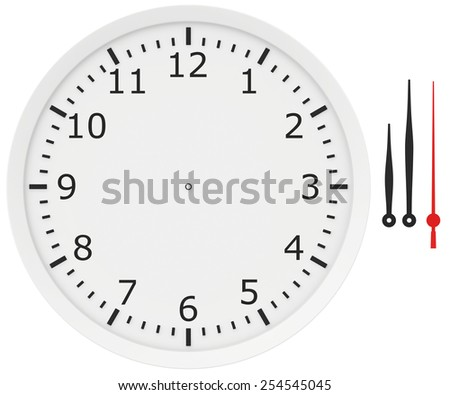template clock with arrows and numbers isolated on a white background. - stock photo