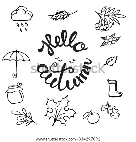 Template Design Of Logo, Stamp Silhouette Hello, Autumn. Hand Drawn And  Hand Letterring