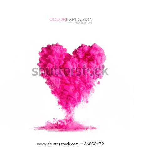 Template design with cloud of pink ink heart shaped isolated on white. Texture of acrylic ink in water. Color explosion.  - stock photo