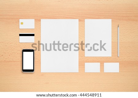 Template for branding identity - smartphone, business cards, pencil, smart card, magnetic stripe card, letterheads. - stock photo