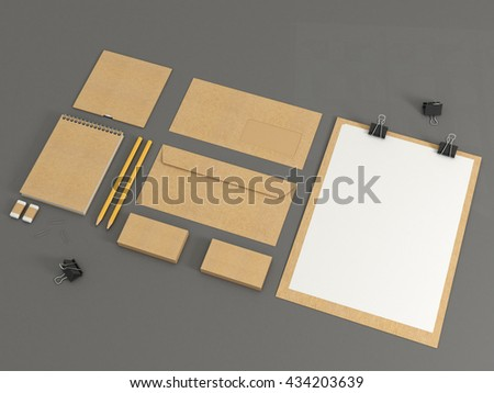 Trifold white paper brochure mockup template stock for Cardboard brochure holder template