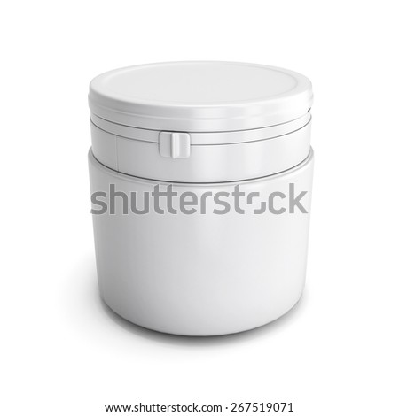Template for design of a white plastic can with product isolated on white bacground. 3d illustration - stock photo