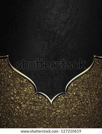 Template for inscription. Black texture with gold sand nameplate and gold trim - stock photo