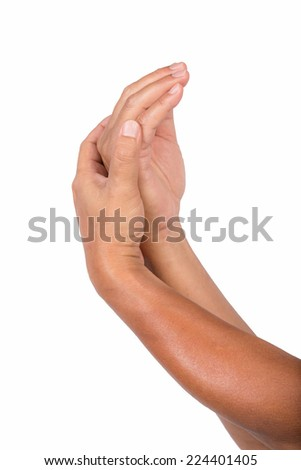 Template for skincare design. Perfect male hands preparing for apply some lotion - stock photo