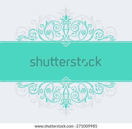 template for text. vintage frame decorated with antique ornaments green. vector copy in my portfolio - stock photo