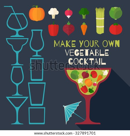Template for various vegetable cocktails. Health, vegetarian, diet lifestyle. Can be used in cooking books, restaurant menu and organic farm labels, healthy design element. Raster copy of vector file. - stock photo