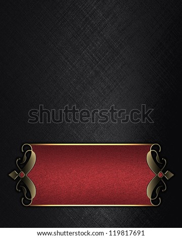 Template for writing. Black background with Red nameplate with gold ornate edges - stock photo