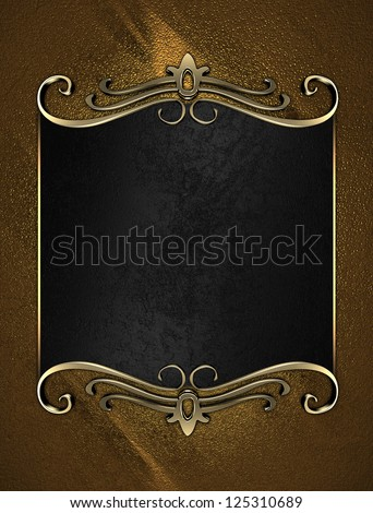 Template for writing. Black name plate with gold ornate edges, on gold background