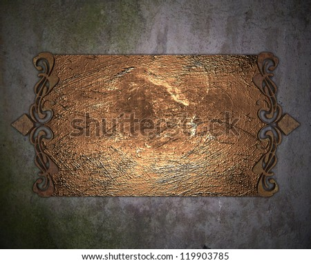 Template for writing. Rusty nameplate on dirty wall