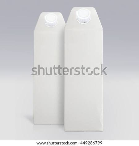 Template illustration of blank carton packs for milk or juice