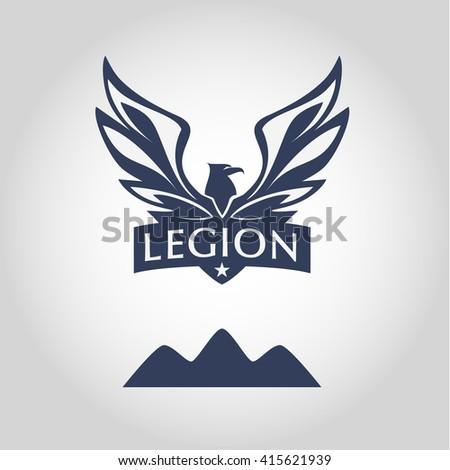 Template logo. Legion. Logo with eagle. Sport team logo. - stock photo