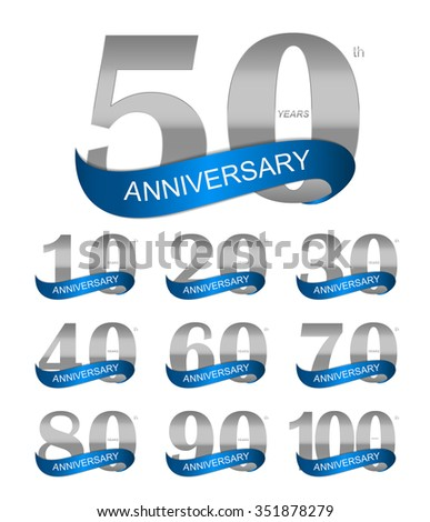 Template Logo Set Anniversary Illustration  - stock photo