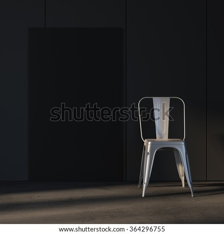 Template of black canvas with chair. Loft mockup, empty and minimalistic interior. with sunlight 3d rendering - stock photo
