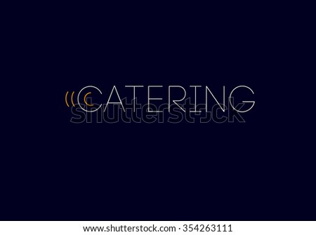 Template of catering company logo. Catering, outdoor events and restaurant service insignia, food icons.  - stock photo