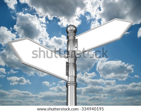 Template of directional sign in the form of arrows on a background of clouds