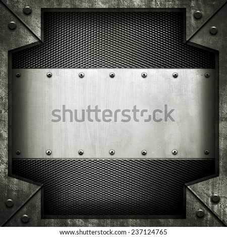 template of metal plate  - stock photo
