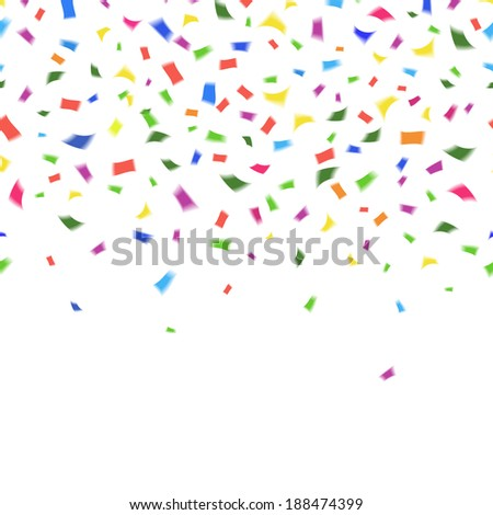 template of vibrant colorful confetti in the colors of the rainbow on white with copyspace for your greeting card text or invitation for New Year  Christmas  wedding or birthday