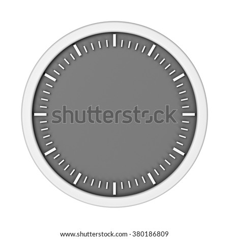 Template of white empty clock without arrows, three-dimensional rendering - stock photo