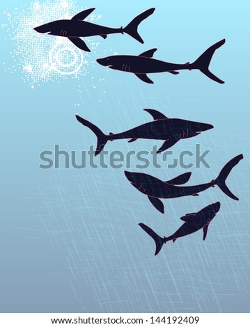Template poster design with hand-drawn sharks silhouettes. - stock photo