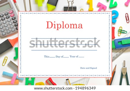 Template School Diploma  for Children - stock photo