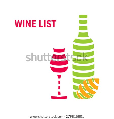 Template wine list with wine glasses,bottle and lemon isolated on white background - stock photo