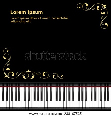Template with piano keyboard on black background. - stock photo