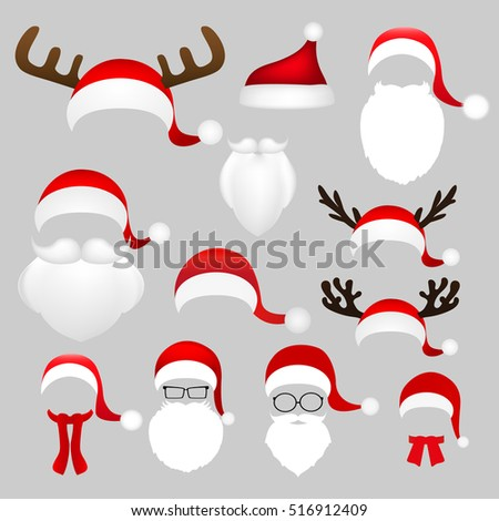 Templates for picture reindeer antlers and a hat with a beard and mustache Santa Claus