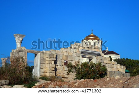 Temple and ruins in Hersonese - stock photo
