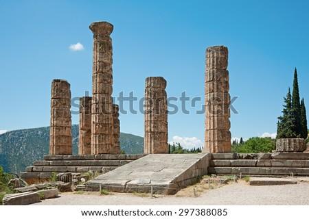 Temple Apollo columns in Delphi, Greece - stock photo