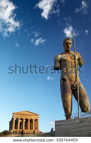 temple at Agrigento, Sicily - stock photo