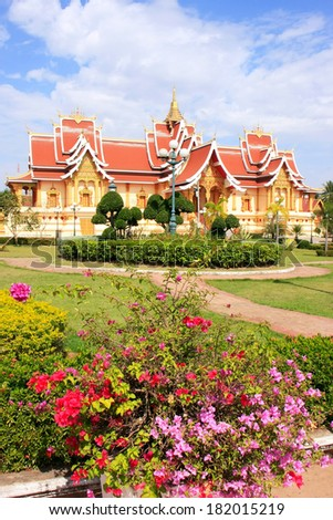 Temple at Pha That Luang complex, Vientiane, Laos, Southeast Asia