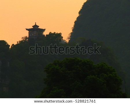 Temple at Sunset in Guilin, Guangnxi Provence, China