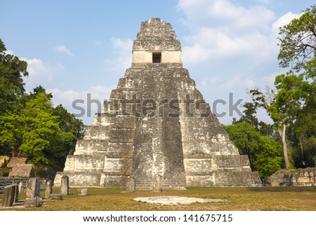 Temple 1 at Tikal National Park, Guatemala - stock photo