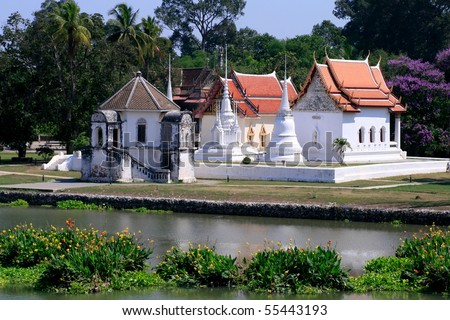 Temple by the river. - stock photo