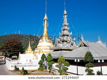 Temple Chong Klang and Chong Kham in Mae Hong Son province, Northern Thailand - stock photo