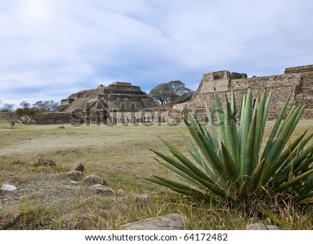 Temple complex of Monte Alban, Mexico - stock photo