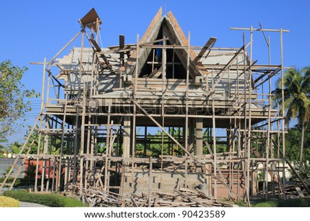 Temple construction with blue sky - stock photo
