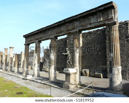 Temple courtyard at the ancient Roman city of Pompeii, which was destroyed and buried by ash during the eruption of Mount Vesuvius in 79 AD - stock photo
