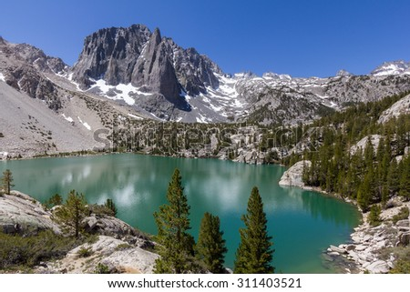 Temple Crag and Second Lake - stock photo