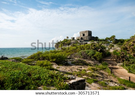 Temple del Viento at Tulum Ruins in  Mexico - stock photo